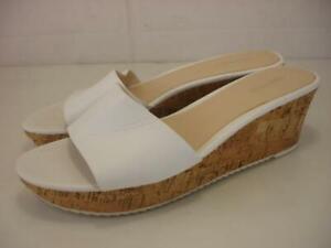 Women's 11 M Nine West Confetty White Leather Platform Sandals Cork Wedge Heels