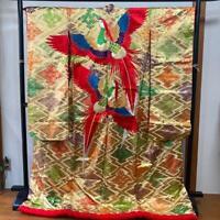 Uchikake Kimono Japanese Wedding Robe Embroidery Peacock Design L Size Gold F/S