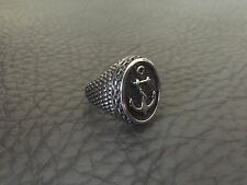 VINTAGE 1980'S STAINLESS STEEL MENS NAUTICAL ANCHOR OVAL SIGNET RING SZ.9