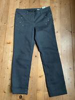 Stretch Jeans von Gerry Weber anthrazit Perlen Strass Baumwolle Elastan 44 46