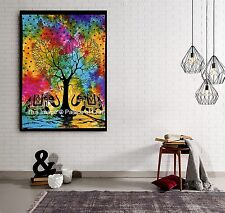 Indian Colorful Tie Dye Tree of Life Wall Door Table Cloth Throw Yoga Mat Hippie