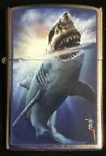 """Zippo by Mazzi """"""""Shark Attack"""" Printed Lighter on a Street Chrome , New"""