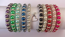 Glass Pearl Diamante Elastic Bracelet with Heart Charm Bridal / Prom 10 COLOURS