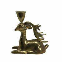 Vintage Brass Candle Holder Buck Deer stag Reindeer figurines Christmas Decor 5""