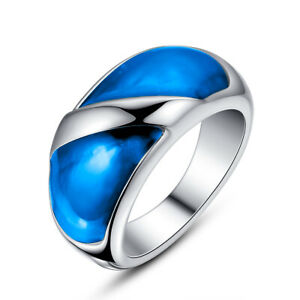 Women's Stainless Steel Blue, Green, Red, Purple Epoxy Statement Cocktail Ring