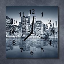 Glass Wall Clock Kitchen Clocks 30x30 cm silent Skyline Blue
