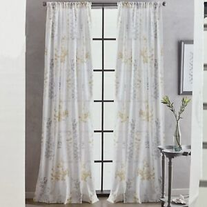 NEW DKNY 50x96 Watercolor Petunia Window Curtains Cotton 2PC Cream Yellow Floral