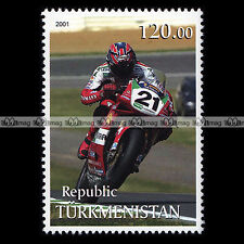 ★ MOTO RACING ★ TURKMENISTAN Timbre Poste Moto / Motorcycle Stamp #335