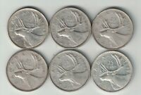 6 X CANADA 25 CENTS QUARTERS KING GEORGE VI SILVER COINS 1945 - 1949