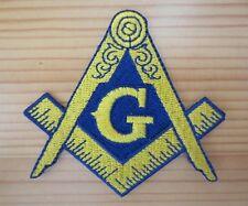 Masonic Embroidered Patch Freemason Iron on Blue and Yellow Square & Compass