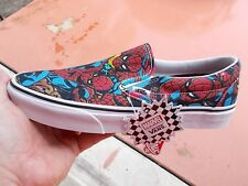 VANS  CLASSIC SLIP ON SPIDER - MAN  MARVEL RED / BLUE  Size 9 .5  NEW IN BOX