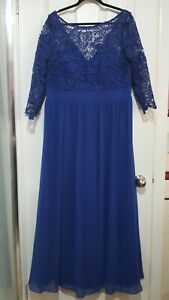 Ladies Ever Pretty Formal Dress Blue Chiffon Lace Sz 18