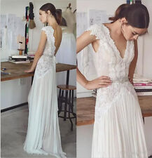 Stunning Boho Lace Chiffon Beach Wedding Dress V Neck White Ivory Bridal Gown