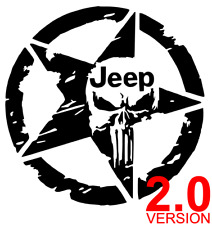 Jeep Punisher 2.0 Star Distressed Decal Sticker Wrangler Renegade Car 12 Colors
