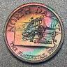 NORTH DAKOTA Proof Franklin Mint Sterling Silver Mini Coin - Rainbow Toning
