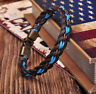 G205 Surfer Handmade Hemp&Leather Braided Mens Wristband Bracelet Cuff Brown C