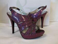 Style & Co 7.5 M Sierria Plum Glitter Open Toe HEELS Womens Shoes