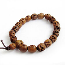 Handmade Compilation Wooden Wood Carved Skull Beaded Tibetan Charm Bracelet