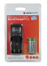 AGFA PHOTO AA/AAA Overnight Charger with 2 1300mAh AA NiMH Batteries Rechargable