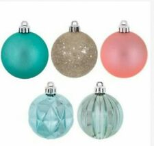 Lot of 15 Christmas Ornaments Ball Coral Gold Turquoise Teal Coastal Palette
