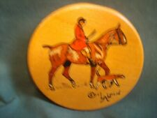 More details for scarce cecil aldin signed wooden coaster - fox hunting - lionel edwards
