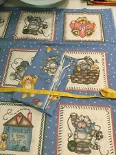 Vintage Cat Square Fabric Cotton New With Matching Fabric 1 Yard Each Piece