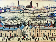 Lowry Britain at play Stretched Canvas Multi Size Art Poster Print Painting LS