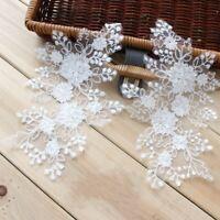 1Pair Embroidered Flower Lace Applique Motif Trim Wedding Dress Sew Crafts DIY10