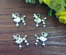 8pcs dog Tibetan Silver Bead charms Pendants DIY jewelry 18x15mm J123