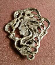 Sterling Silver Art Nouveau  Women face brooch. Signed