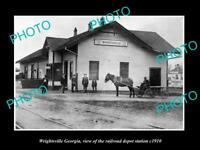 OLD LARGE HISTORIC PHOTO OF WRIGHTSVILLE GEORGIA, RAILROAD DEPOT STATION c1910