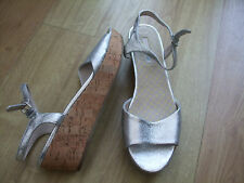 BODEN SILVER SUEDE CASUAL CORK  WEDGES  SIZE 42==8  BNWOB