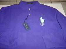 BIG MENS RALPH LAUREN PURPLE W/BLUE LG PONY L/S POLO SHIRT SIZE 4XLT $110