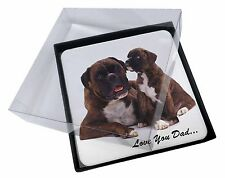 4x Boxer Dog 'Love You Dad' Picture Table Coasters Set in Gift Box, DAD-6C