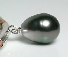 9.2x12.5mm AA++ silver-black Tahitian saltwater pearl, silver & leather necklace