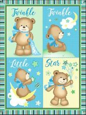 Twinkle Little Star Teddy Bear Baby Wall hanging Quilt top Panel Fabric Cotton