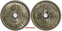 Norway Haakon VII Copper-Nickel 1941 50 Ore WWII Issue High Grade KM# 386