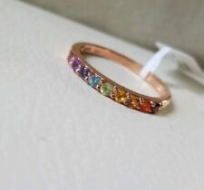 Exotic Rainbow Gemstone Band Ring Chuck Clemency Nycii Rose gold/Sterling silver