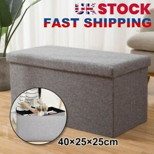 40cm Folding Ottoman Storage Box with Lid Pouffe Footstool Toy Container Bench