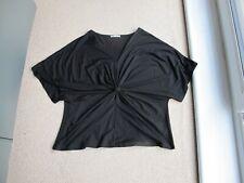 Artigiano Italian Black Viscose & Lycra Knotted Front Top Blouse Size UK 22