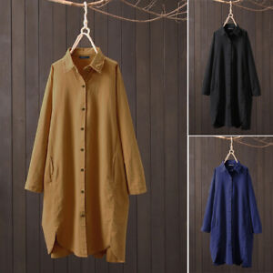 UK Women Full Sleeve Dress Solid Cotton Tunic Pullover Straight Long Shirt Top