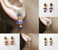 Indian Earrings Jewellery Gold Plated Jhumka Jhumki Diamante ( Buy 1 Get 1 Free)
