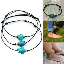 Women Boho Turquoise Turtle Chain Anklet Bracelet Foot Chain Beach Jewelry SEAU