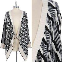 Braided Knit Open Front Cardigan Draped Long Sleeve Sweater Stylish ONE SIZE
