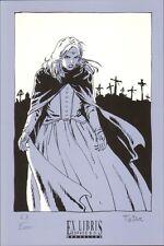 Ex-libris sérigraphie TADUC  Espace BD Voyages de Takuan Vampire 200ex-s 14x21