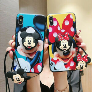 3D Cute Mouse Holder Lanyard Case for iPhone 12 Pro Max 11 Samsung Cartoon Strap