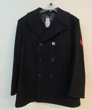 DSCP Overcoat Peacoat Mens 46R Black 100% Wool US Navy Sterlingwear Boston