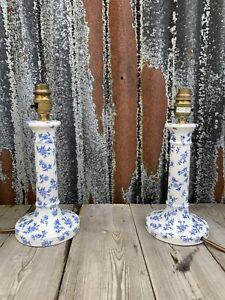Vintage Pair Floral Pot Table Lamps