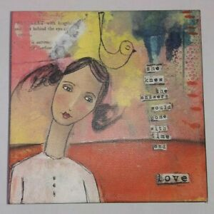 "Kelly Rae Roberts Collection 6"" Wall Art Canvas SHE KNEW Demdaco 2010 Girl Bird"