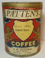 Old Vintage 1930s PATTEN COFFEE LION GRAPHIC COFFEE TIN ONE 1 POUND ASHLAND OHIO